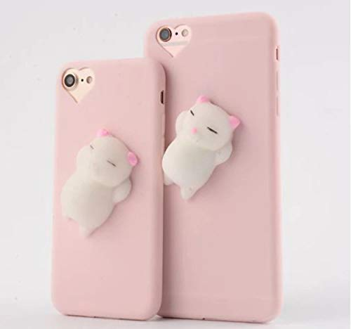 3D Squishy Cute Cat Phone Case for iPhone 5 5s Se- Best Gift for Boys and Girls (Pink)