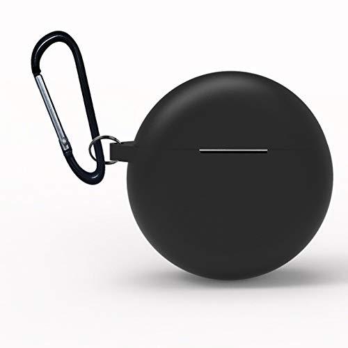 XuBa beschermhoes voor Huawei Freebuds 3 2019, houder voor koptelefoon, draadloos, siliconen, TWS Bluetooth koptelefoon, Eén maat, zwart.