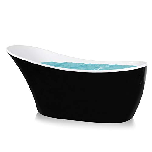 AKDY 63' Modern Black Acrylic Finish Freestanding Oval Rounded Soaking Spa Shower Bathtub