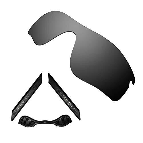 HKUCO For Oakley Radarlock Path Black Polarized Replacement Lenses And Black Earsocks Rubber Kit