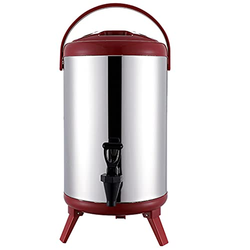 FASZFSAF Distributore Bevande Calde Premium Acciaio Inossidabile, Barile Isolato Doppio Erogatore Bevande Murato, per L'Acqua Dell'Espresso, tè, Cioccolato Caldo,Rosso,10L