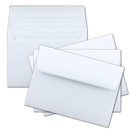 100x Brief-Umschläge DIN C6 in Weiß - gefüttert mit weissem Seiden-Futter - 11,4 x 16,2 cm - Brief-Kuverts für Grußkarten - 100g/m²- Haftklebung