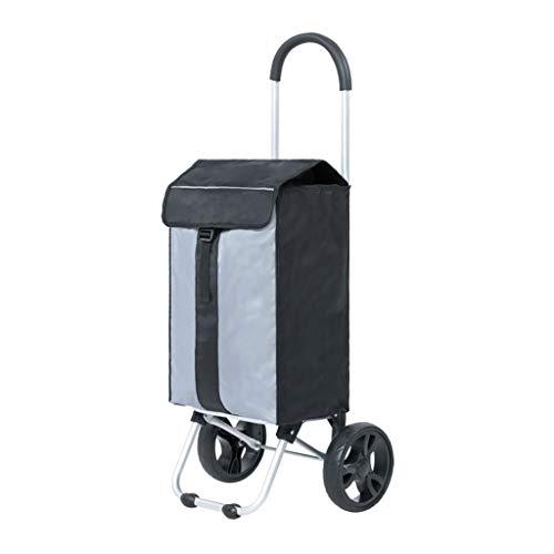 ZGF Retro-Aluminiumlegierung Einkaufswagen Folding Trolley Einkaufswagen Trolley Kleine tragbare Wagen,Schwarz