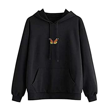 Forwelly Cute Graphic Hoodies for Teen Girl Women Fashion Butterfly Print Long Sleeve Hooded Sweatshirt with Pocket Tops Black