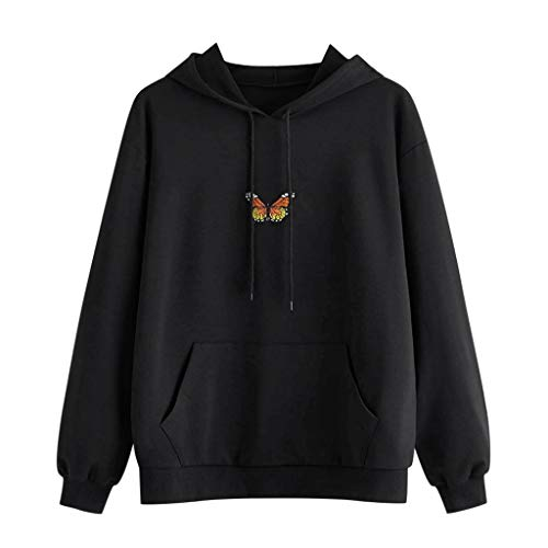 Womens Hoodies,Butterfly Sweatshirt Embroidered Teen Girls Long Sleeve Casual Pullover Tops Blouse