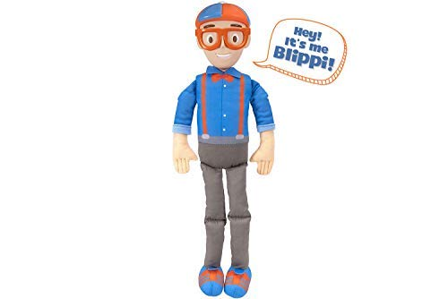 "Blippi Bendable Plush Doll, 16"" Tall Featuring SFX - Squeeze The Belly to Hear Classic catchphrases - Fun, Educational Toys for Babies, Toddlers, and Young Kids"