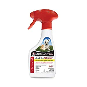 Direct Protect Plus Flea & Tick Pet Spray, for Dogs & Cats 8 weeks & Older, Waterproof & Fast Acting, 16 oz, White bottle, opaque spray