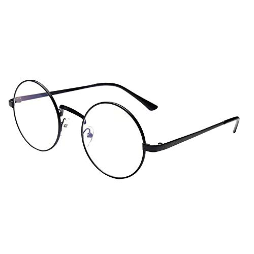 Brille Runde Gläser Ohne Stärke UFODB Herren Damen Modische Rahmen Brillenfassung Klare Linse Nerdbrille Literarisch Mit Fensterglas Damen Herren Vintage Look clear lens