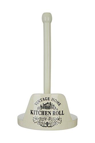 Premier Housewares–Soporte para Rollo de Papel de Cocina, diseño Vintage, dolomita, Madera de Pino, Color Crema, 27x 18x 18cm