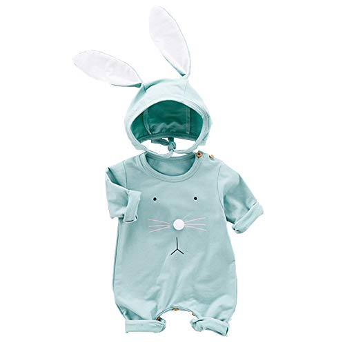 XIFAMNIY Easter Outfits Baby Girls Boys Bunny Romper Bodysuit Jumpsuit Infant Newborn with Rabbit Hat (Green, 3-6 Months)