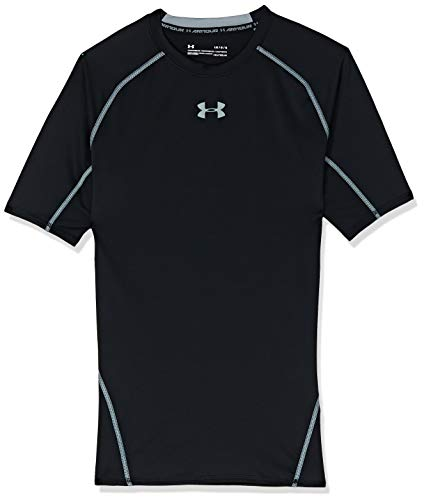 Under Armour UA Heatgear Short Sleeve Camiseta, Hombre, Negro (Black/Steel 001), L