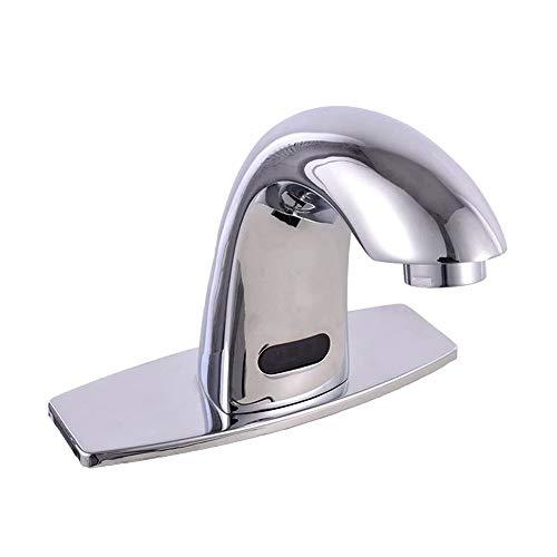 XVXFZEG Frío y caliente de mezcla automática sin contacto inducción grifo, Todos cobre de ahorro de agua del grifo de inducción eléctrica, conveniente for el hogar, baño, WC, hotel, hospital, escuela,