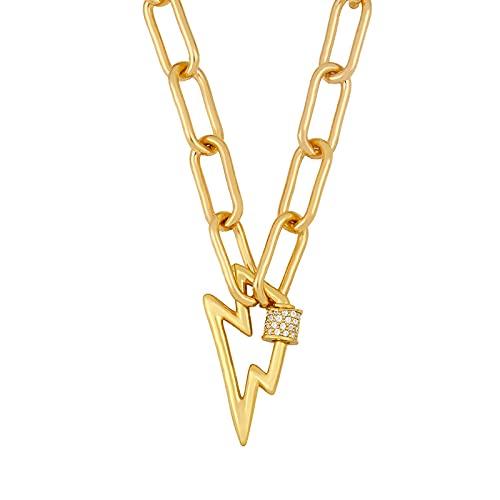 Focisa Collar Colgante Cadena Collares Hombre Mujer Collar De Corazón De Oro para Mujer, Collar con Colgante De Perno De Relámpago, Mosquetón, Cobre, Circonita, Joyería De Declaración Pun