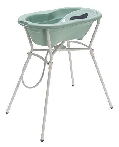 Rotho Babydesign Komplett-Badeset mit Wanne und Klapp-Ständer, 0-12 Monate, Max 25kg, TOP, Swedish Green (Mintgrün), 21060026601