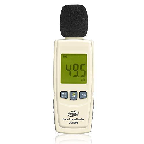 Decibel Meter 30-130 dB Sound Meter Noise Meter Max/Min/Data Hold Sound Level Reader LCD Display and Backlight Digital Sound Level Meter Flashlight Audio Noise Volume Measuring Monitoring Instrument