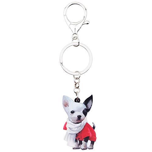 GPZEDCDB Schlüsselanhänger Schlüsselring Acryl Cartoon Schal Chihuahua Hund Schlüsselanhänger Schlüsselbund Ringe Modeschmuck Für Frauen Mädchen Damen Handtasche Charms Bulk Pet