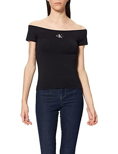 Calvin Klein Jeans Monogram Slim Bardot Top T-Shirt, CK Black, M Donna