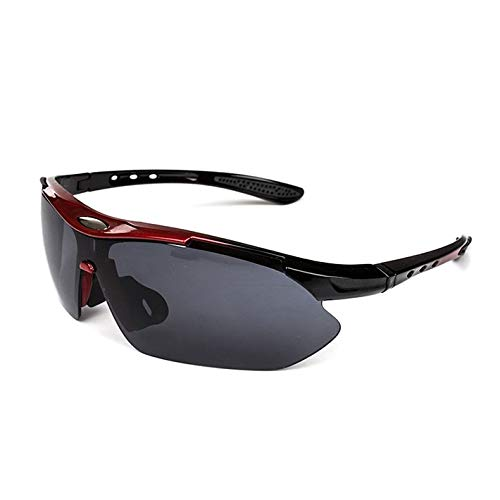 NSGJUYT Al Aire Libre Deportes Bicicleta de la Bici del Montar a Caballo for Hombre Gafas de Sol Gafas vidrios de Las Mujeres UV400 de la Lente (Color : Rojo)