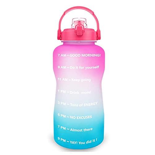 hgkl Botellas de Agua 2L 3.8L Botella de Agua Flip-Flop Motivational BPA Deportes Fitness Janjs Gimnasio al Aire Libre Tenedor móvil Tour (Color : Light Green)