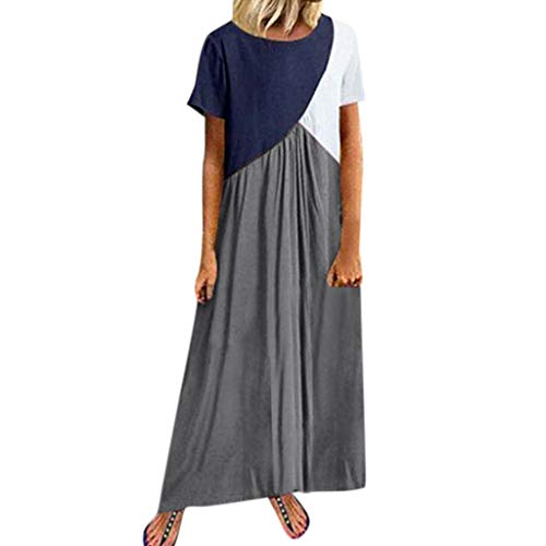 Kleid Bohème für Frauen, Nicht teuer, Sommer, locker, Drapiert, Bedruckt, Bohème, kurzärmlig, Rundhalsausschnitt, Knöchellänge Empire Wasit Kleid Cebbay (S-3XL) Gr. XXXXL, Dunkelgrau 1