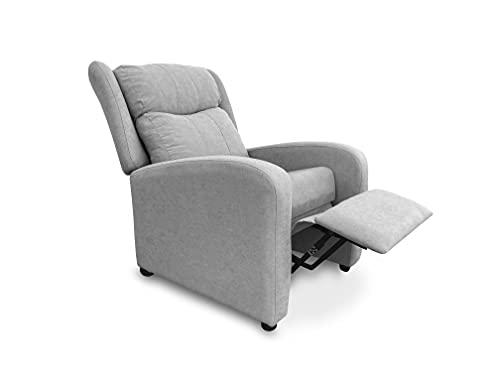 Sillón butaca reclinable Acolchado. Sillón Respaldo reclinable y reposa pies (Gris) ✅