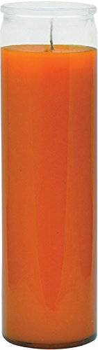 Indio 7 Day Glass Plain Color Glass Candles 8' Tall - Orange