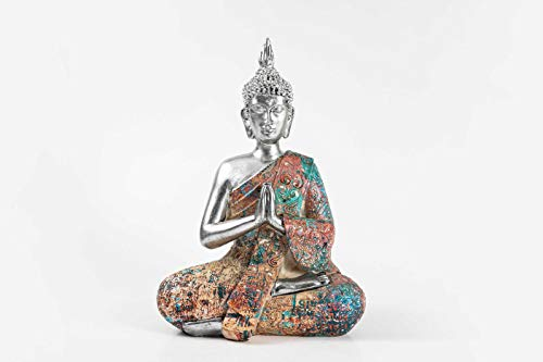 Resin Made Water Transfer Printing Statue,Modern Style Colorful Creative Sculpture,Gift for Friend, Decor Living Room, Bedroom, Office Desktop, Cabinets (Buddha)