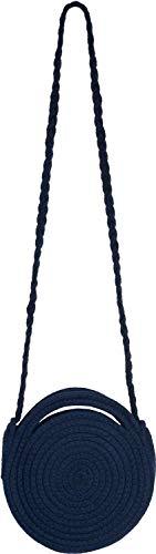 styleBREAKER Damen Runde Bali Bag Umhängetasche mit geflochtenem Taschengurt und Henkeln mit Reißverschluss, Henkeltasche 02012291, Farbe:Dunkelblau