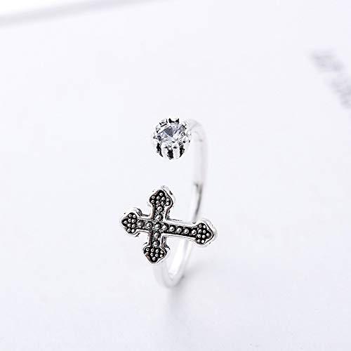 WHX DamenRingeEdelstahl, Europäische und amerikanische Persönlichkeit Cross Meson kreative Antike Diamant Ringfinger