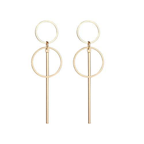 Geometric Double Circle Hoop Dangle Earrings Simple 8 Infinity Knot Bar Tassel Drop Earrings for Women Jewelry (Gold)