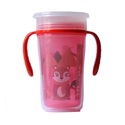 Baby Bucket 360° Degree Magic Spotless Transition Sippy/Sipper Cup with Handle for Baby/Toddlers (12m+) 100% BPA Free   Anti-Leak   Light Weight. -200ml – [Red]
