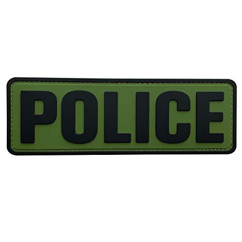uuKen Big PVC Police Patch 2x6 inchesHook Fastener Back OD Green for Military Police Officer Tactical Vest Jacket Combat Plate Carrier Panel Law Enforcement