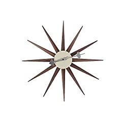 SHISEDOCO George Nelson Sunburst Clock in Walnut, Decorative Modern Silent Wall Clock for Home, Kitchen,Living Room,Office etc. - Colorful Wooden Mid Century Retro Design(Full Range Available)