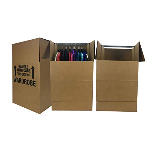 uBoxes Wardrobe Moving Boxes – Shorty Space Savers – (3 PK) 20x20x34″ w/Bars
