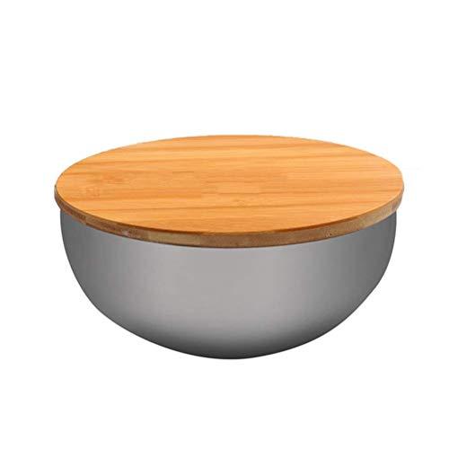 CMBJX Plato de comida Tazón de fideos con tapa de bambú, acero...