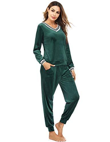 Irevial Damen Velours Hausanzug Nicki Schlafanzug Lang Winter Weicher Pyjama Anzug Set Zweiteiliger Flanell...