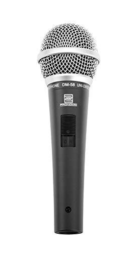 Pronomic DM-58 dynamische zangmicrofoon met schakelaar (incl. klem, voor taal, zang en instrumenten, richtkarakteristiek: supernieren, frequentiebereik: 70-16.000 Hz)