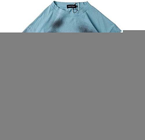 Wnkls Harajuku Loch-Bindung Farbstoff Street-T-Shirts Männer und Frauen Kurze Hülsen-lose beiläufiges Sommer-T-Shirt Aufmaß O Ansatz Hip Hop (Color : Blue, Size : XL)