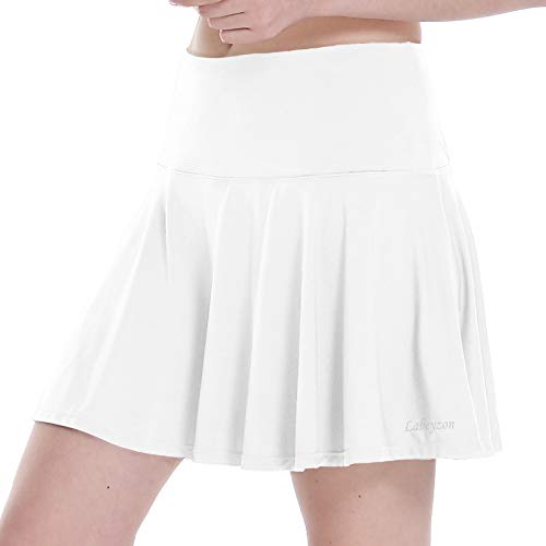 LABEYZON Women's Athletic Tennis Skirts Workout Golf Sport Running Skorts with Mesh Shorts Ball Pockets (White M)