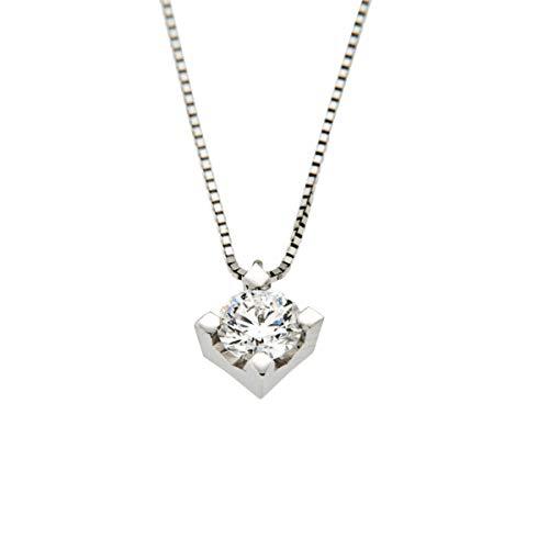 Collana con Pendente in Oro bianco 18 K e Diamante 0,15 ct