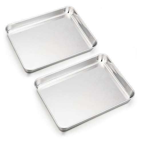 HaWare Mini Toaster Oven Baking Tray, Stainless Steel Small Serving Pan, 23 x 18 x 2.5 cm, Deep Edge, Non Toxic & Heavy Duty, Mirror Finish & Rust Free, Easy Clean & Dishwasher Safe