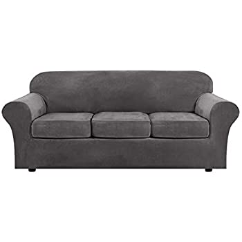Modern Velvet Plush 4 Piece High Stretch Sofa Slipcover Strap Sofa Cover Furniture Protector Form Fit Luxury Thick Velvet Sofa Cover for 3 Cushion Couch Machine Washable Sofa,Gray