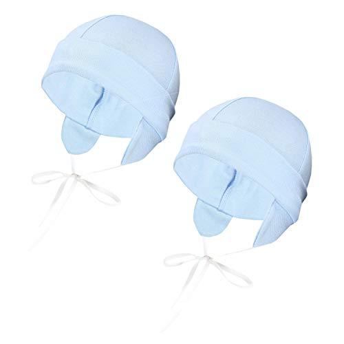 TupTam Baby Erstlingsmütze mit Ohrenklappen 2er Pack, Farbe: Blau, Größe: 50