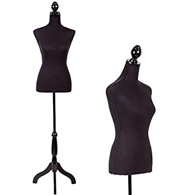 Tripod Wooden Base Female Dress Mannequin Clothing Display Stand Black