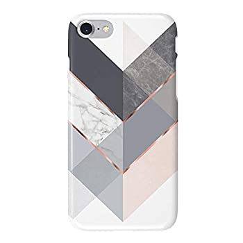 Obbii iPhone 8/7/6/6S/SE 2nd Generation Case Marble Gray Rose Geometric Design Shockproof Slim TPU Flexible Soft Silicone Protective Cover Case Compatible with iPhone 8/7/6/6S/SE 2020  4.7
