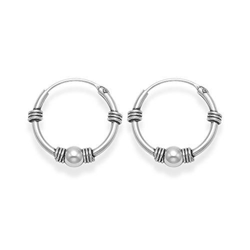 Sterling Silver Bali Hoop earrings, Ball & 4 wires - Size: 15mm - CAUTION these are small and fiddly to insert - easier done from the back. 6208