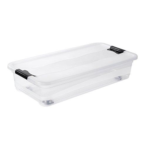 keeeper Aufbewahrungsbox mit Rollen, Deckel und Schiebeverschluss, 79,5 x 39,5 x 18 cm, 33 l, Konrad, Transparent