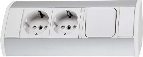 Regleta de aluminio de 2 enchufes con interruptor – horizontal + vertical – 230 V 3680 W – blanco y plateado