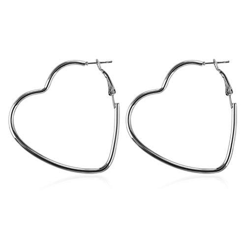 KISSFRIDAY Silberne übertriebene Hohle Herz-Statement-Ohrringe für Frauen
