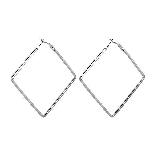 HoopsEarringsForWomen,Fashion Statement Silver Geometric Square Pierced Earrings Hypoallergenic Lightweight Hoop Ring Circle Jewelry Earrings For Women Girls Party Wedding